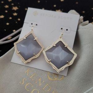 Kendra Scott Kirsten Gold Drop Earrings Slate Grey